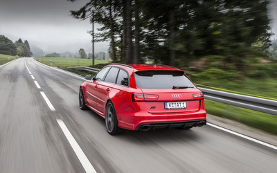 ABT Red Audi RS 6 quattro back view wallpaper