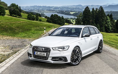 ABT White Audi RS 6 quattro front side view wallpaper