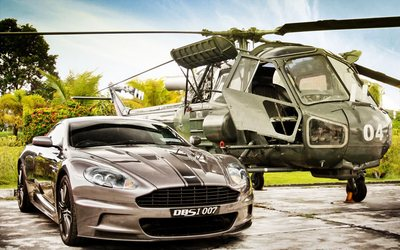 Aston Martin DBS & Westland Scout wallpaper