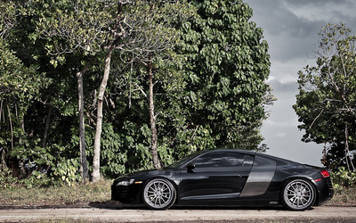 Audi R8 on a country road wallpaper