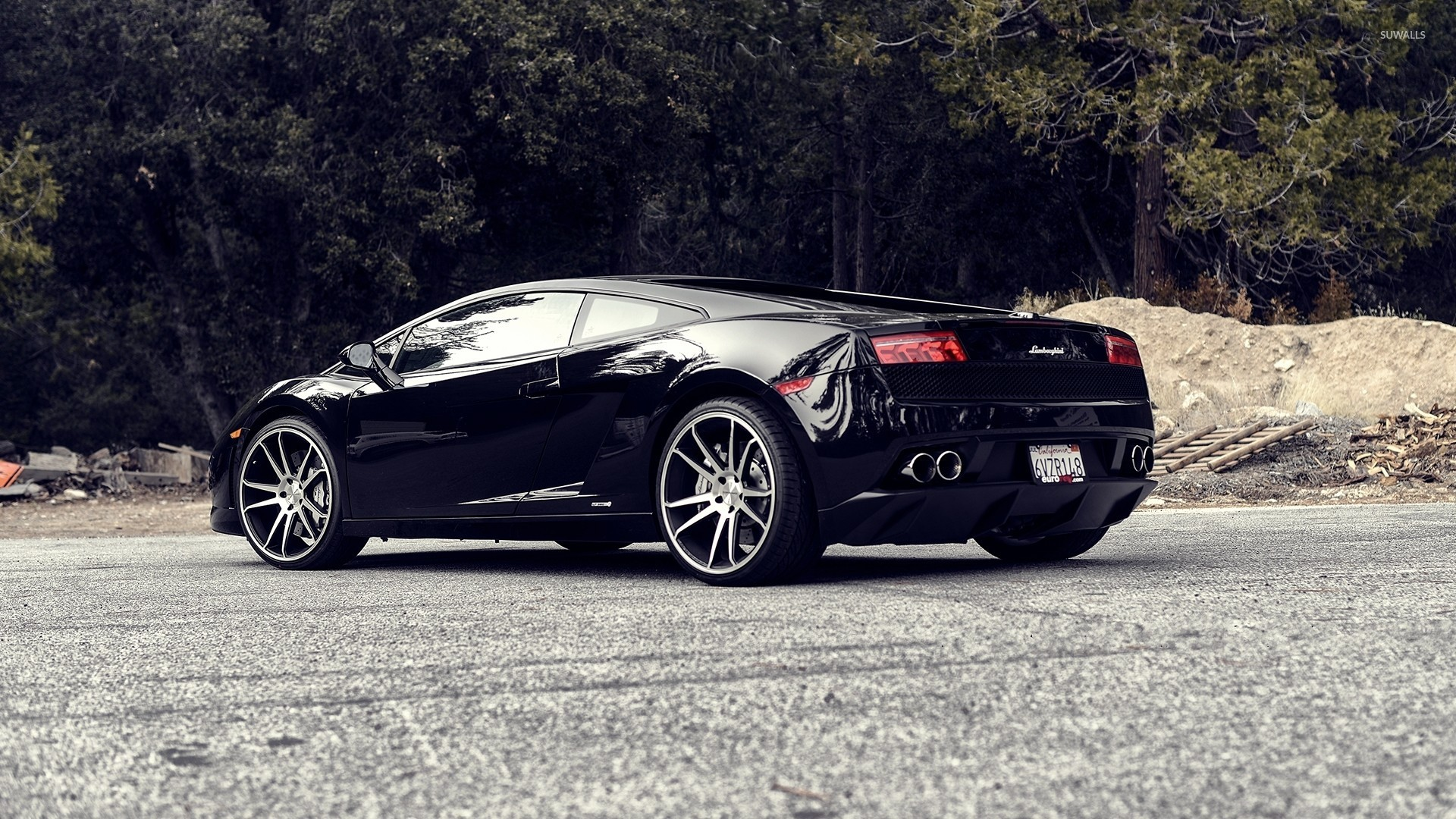 back side view of a black lamborghini gallardo wallpaper 1920x1080 jpg