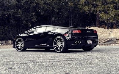 Back side view of a black Lamborghini Gallardo wallpaper
