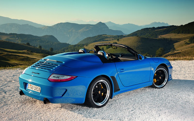 Back side view of a blue Porsche 911 Speedster wallpaper