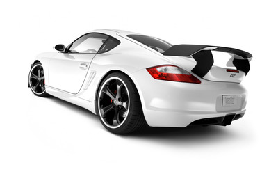Back side view of a white TechArt Porsche Cayman GT wallpaper
