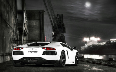 Back view of a Lamborghini Aventador with Capristo Exhaust wallpaper