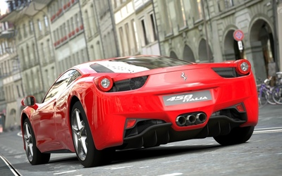 Back view of a red Ferrari 458 Italia wallpaper
