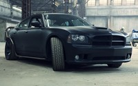 Black 2006 Dodge Charger front view wallpaper 1920x1200 jpg