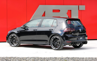 Black 2014 ABT Volkswagen Golf Mk7 back side view wallpaper