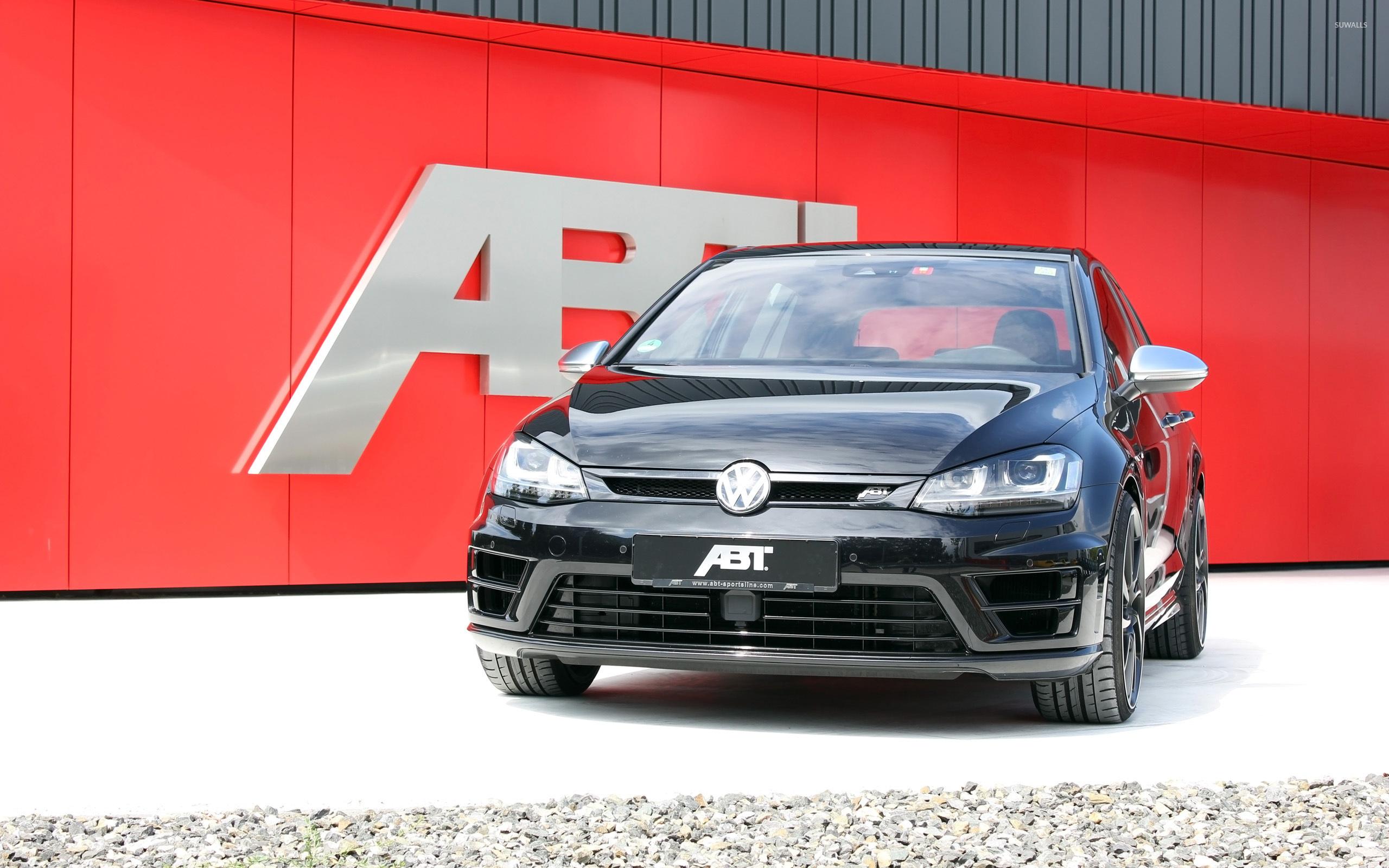 Black 2014 ABT Volkswagen Golf Mk7 Front View Wallpaper