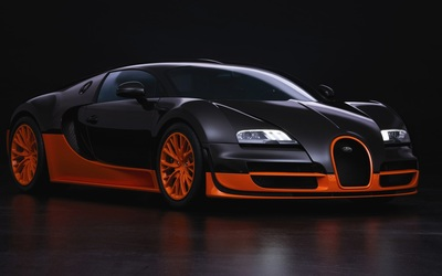 Black and orange Bugatti Veyron front side view wallpaper