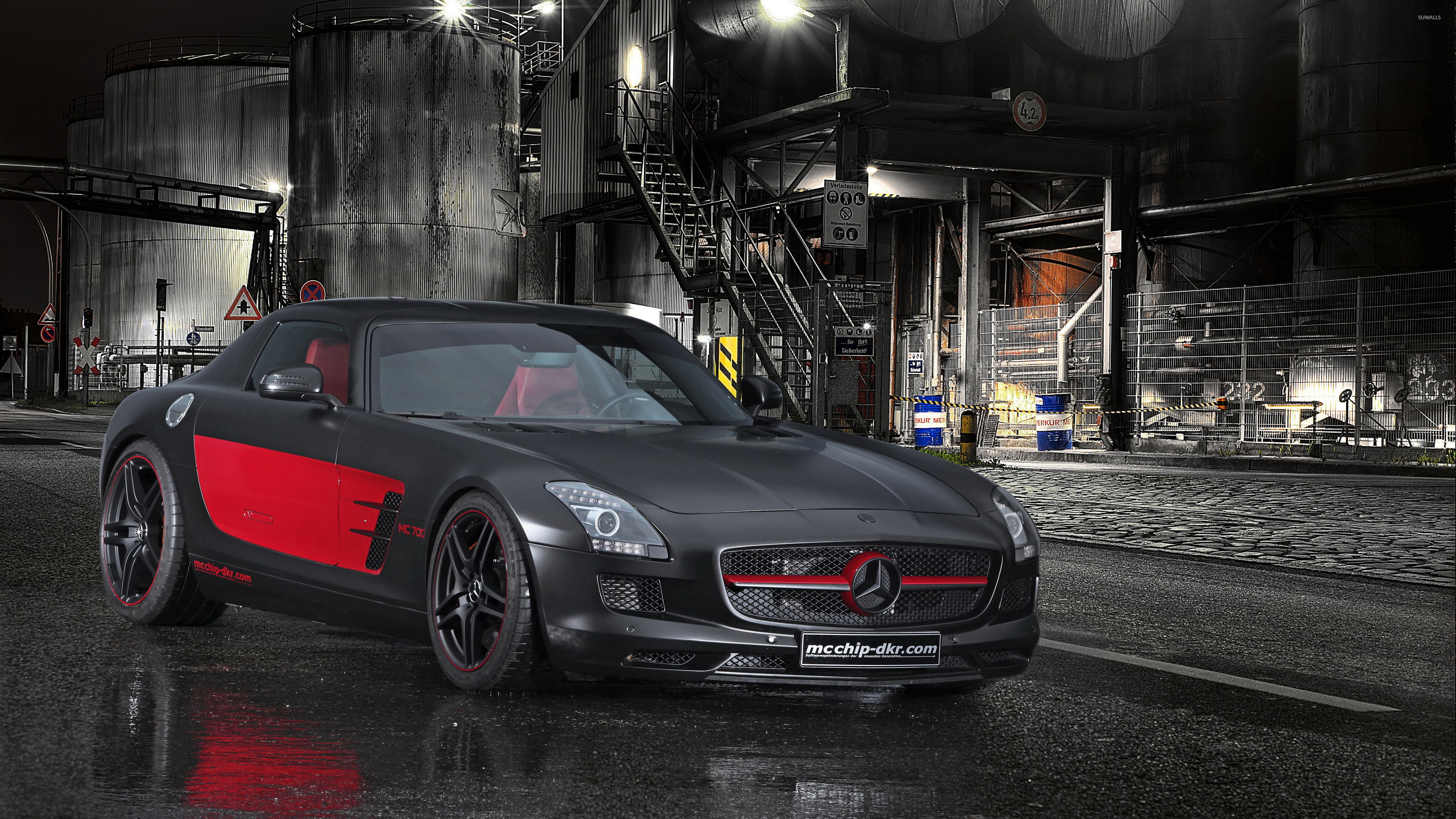 Black and red mcchip dkr mercedes benz sls amg wallpaper for Mercedes benz sls amg red