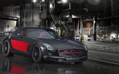 Black and red Mcchip-DKR Mercedes-Benz SLS AMG wallpaper