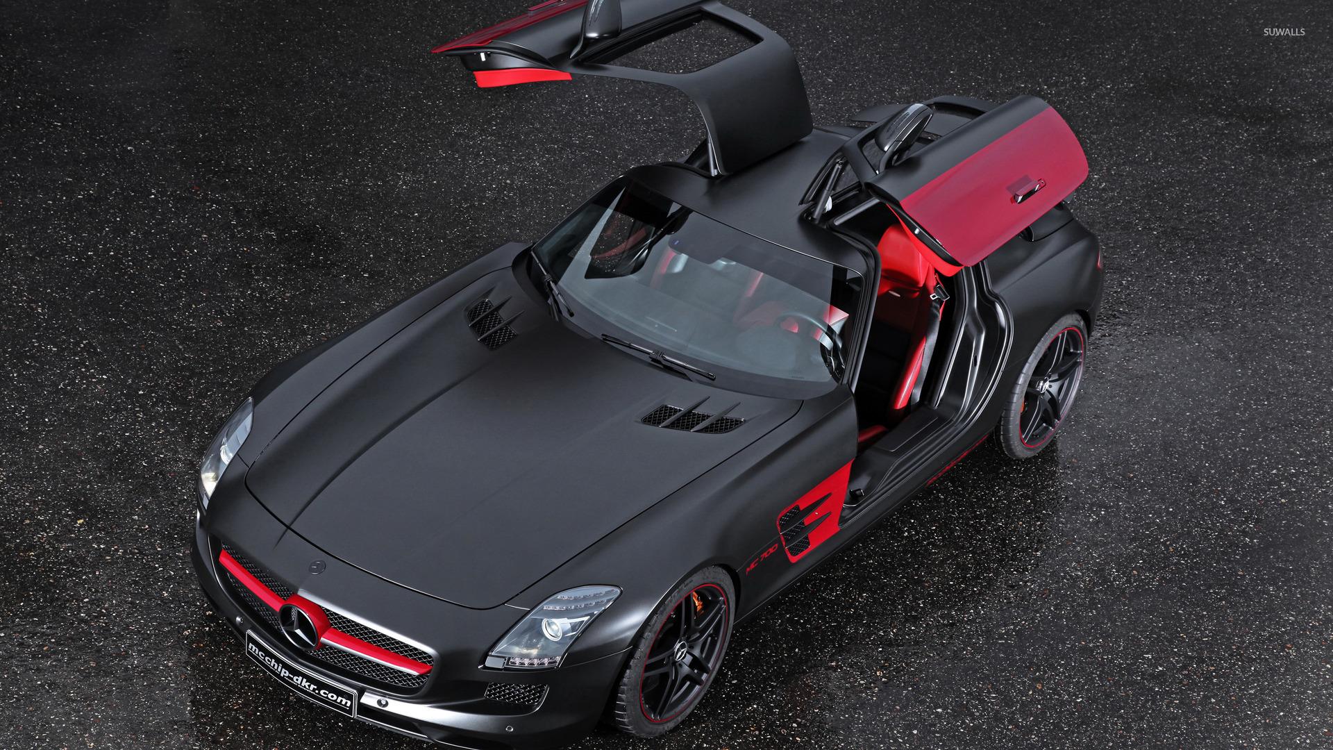 Black and red mcchip dkr mercedes benz sls amg with open for Mercedes benz sls amg red