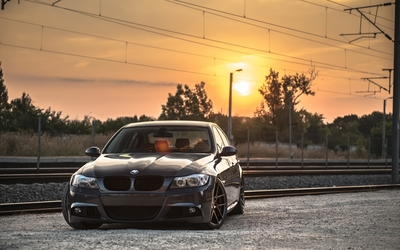 Black BMW 4 Series at sunset wallpaper