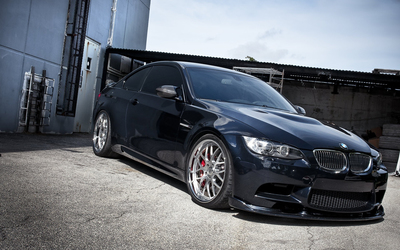 Black BMW M3 front side view wallpaper