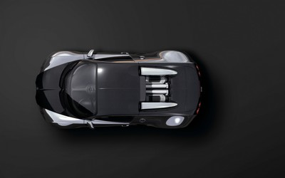 Black Bugatti Veyron top view wallpaper