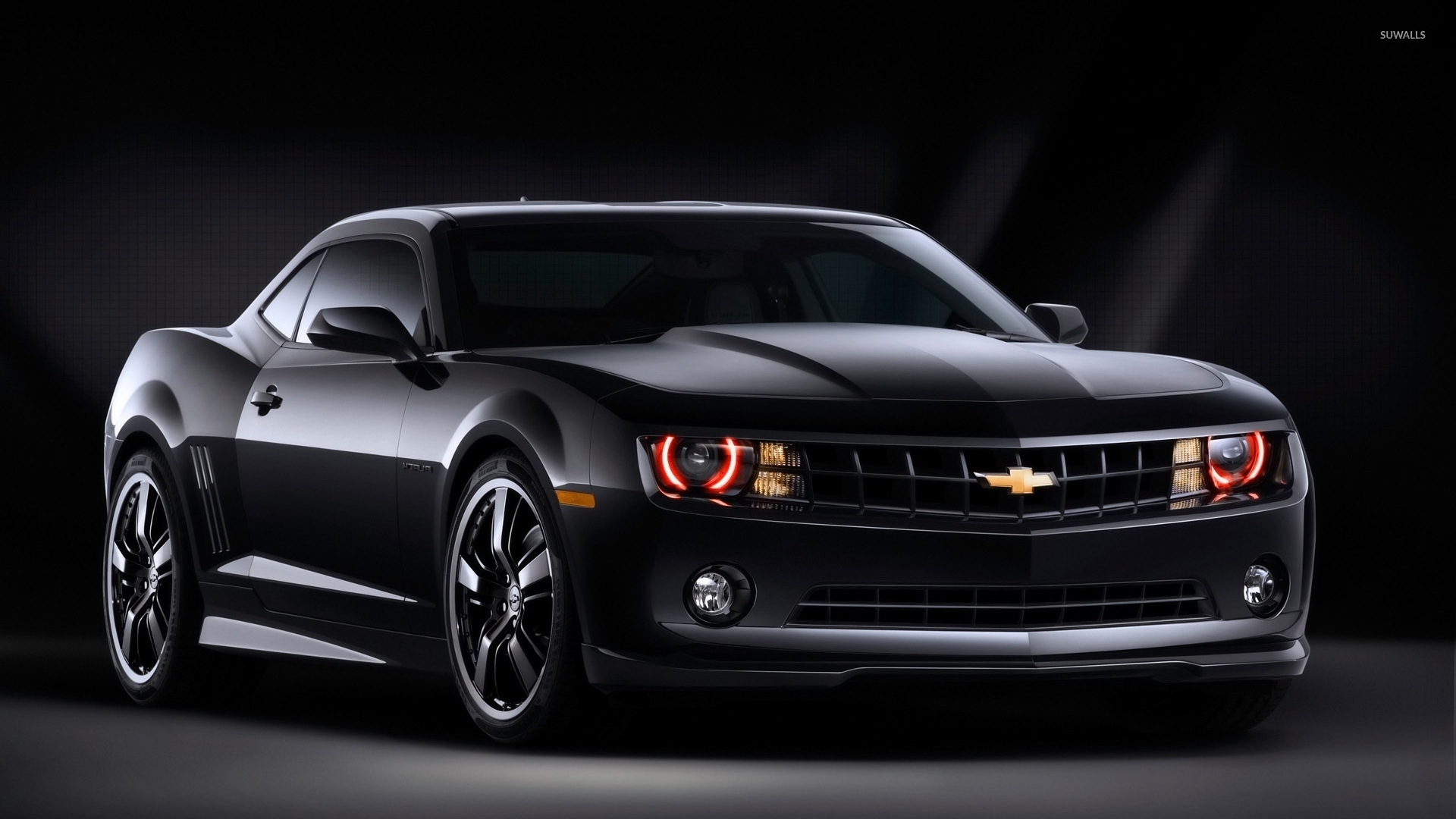 Black Chevrolet Camaro Front Side View Wallpaper Car
