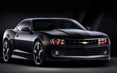 Black Chevrolet Camaro front side view wallpaper