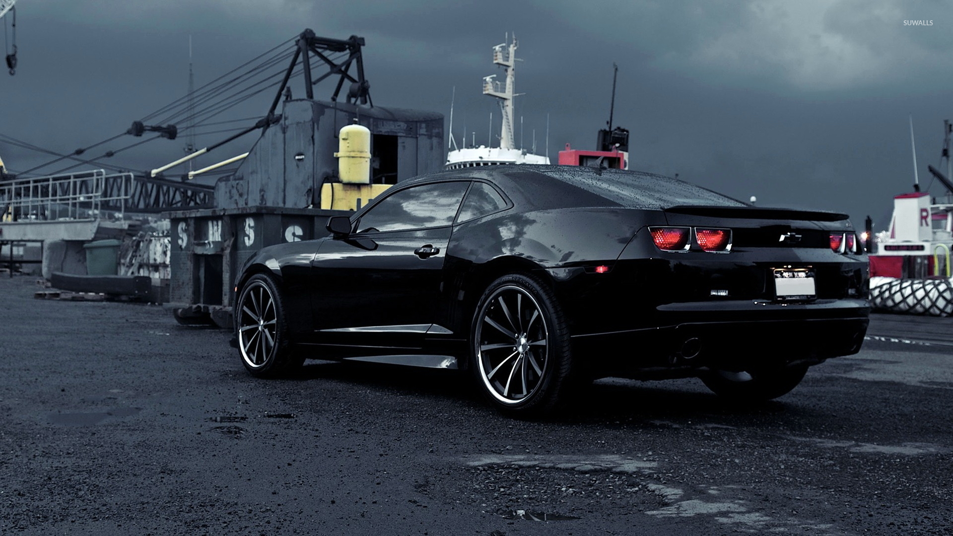 Black Chevrolet Camaro on a rainy day wallpaper Car wallpapers