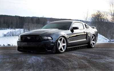 Black Ford Mustang front view wallpaper