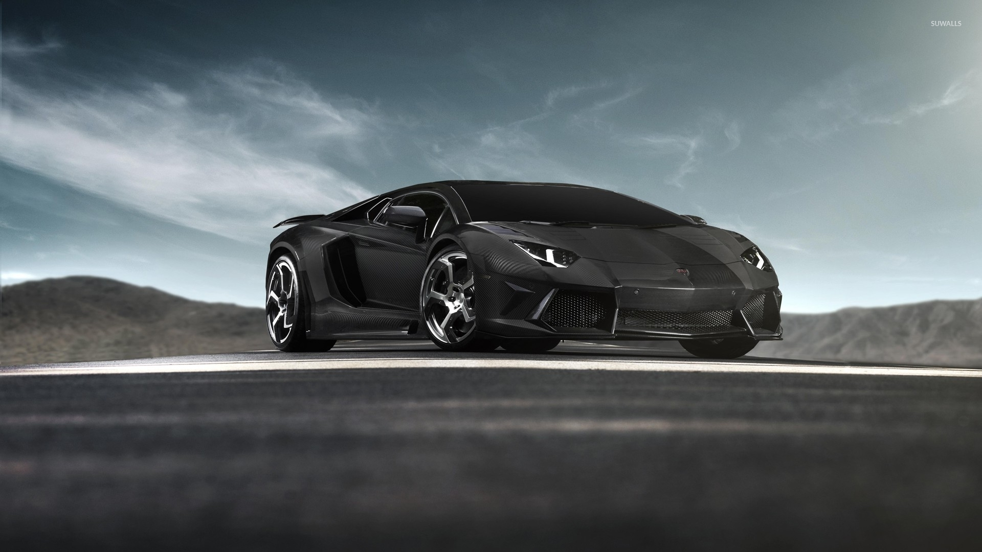 Black Lamborghini Aventador Front Side View Wallpaper Car
