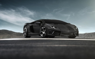 Black Lamborghini Aventador front side view wallpaper