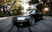 Black Lexus LS in the park wallpaper 1920x1080 jpg