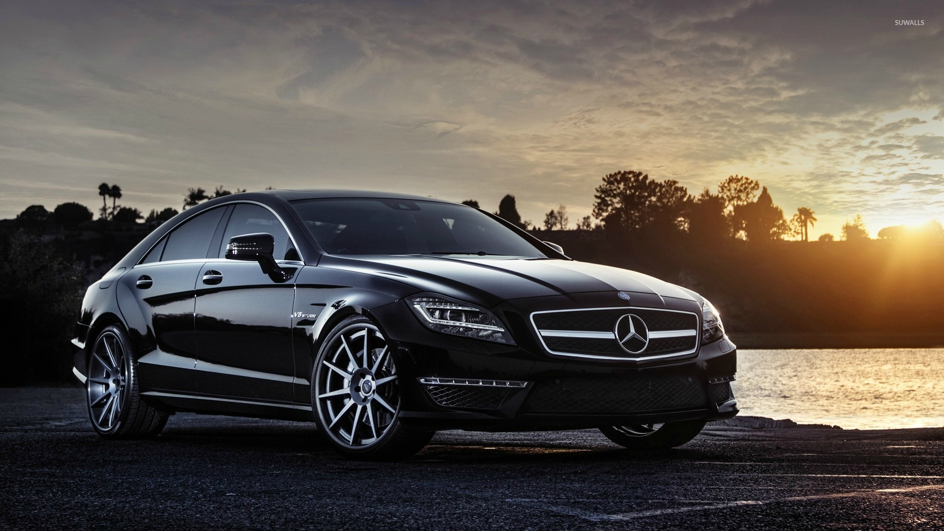 Black mercedes benz cls63 amg at sunset wallpaper car for Cars of mercedes benz