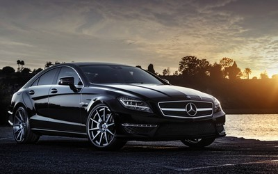 Black Mercedes-Benz CLS63 AMG at sunset wallpaper