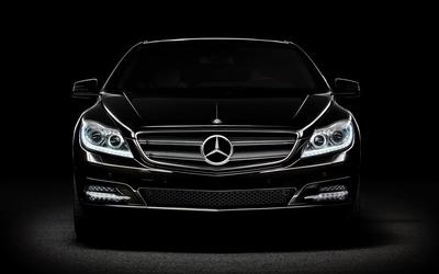 Black Mercedes-Benz in the darkness wallpaper