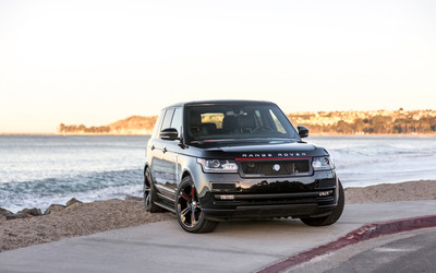 Black STRUT Land Rover Range Rover front side view wallpaper