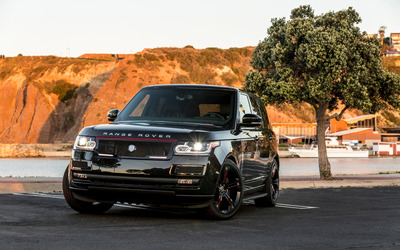 Black STRUT Land Rover Range Rover front view wallpaper