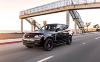 Black STRUT Land Rover Range Rover on the road front side view wallpaper 2560x1600 jpg