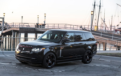 Black STRUT Land Rover Range Rover Parked front side view wallpaper