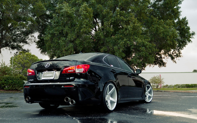 Black Vossen Lexus IS back side view wallpaper