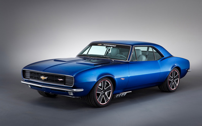 Blue 1967 Chevrolet Camaro front side view wallpaper