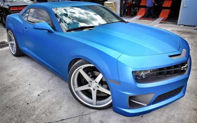 Blue 2010 Nessen Forged Chevrolet Camaro side view Wallpaper