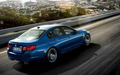 Blue 2013 BMW M5 back side view Wallpaper
