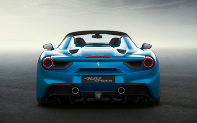 Blue Ferrari 488 Spider back view wallpaper
