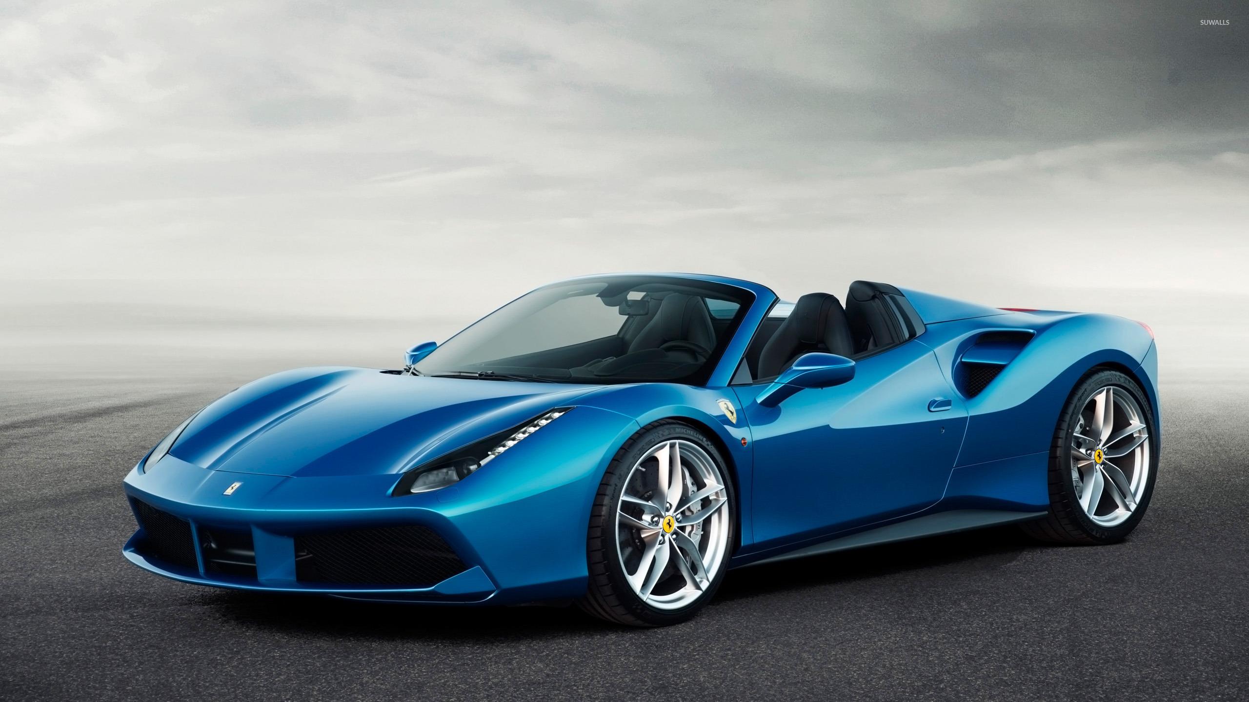 Get Ferrari 488 Spider Blue Wallpaper  PNG