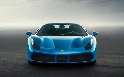 Blue Ferrari 488 Spider front view wallpaper