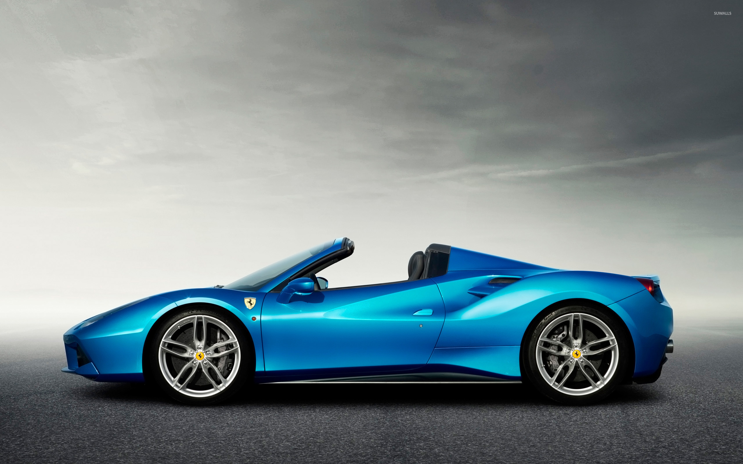 blue ferrari 488 spider side view wallpaper car. Black Bedroom Furniture Sets. Home Design Ideas