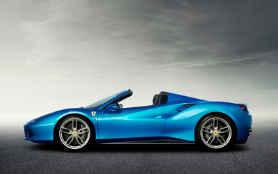 Blue Ferrari 488 Spider side view wallpaper