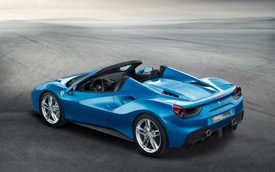 Blue Ferrari 488 Spider top view wallpaper