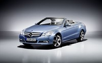 Blue Mercedes-Benz E-Class convertible front side view wallpaper 1920x1200 jpg