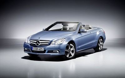 Blue Mercedes-Benz E-Class convertible front side view wallpaper