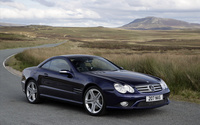 Blue Mercedes-Benz SL55 on the road wallpaper 1920x1200 jpg