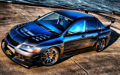 Blue Mitsubishi Lancer wallpaper