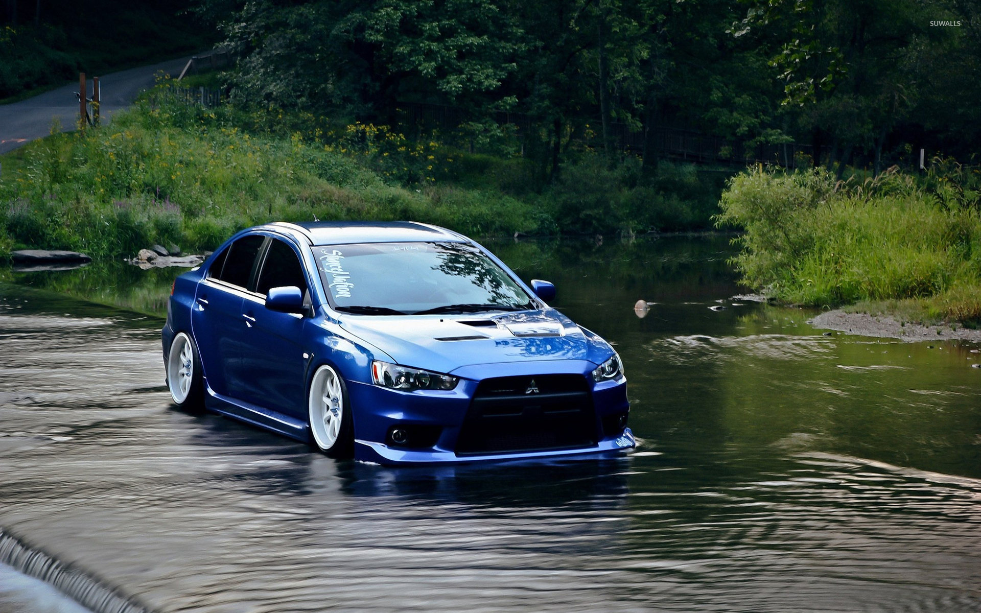 blue mitsubishi lancer evolution in the water wallpaper - car