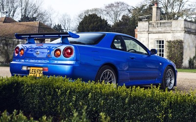Blue Nissan Skyline GT-R back side view wallpaper